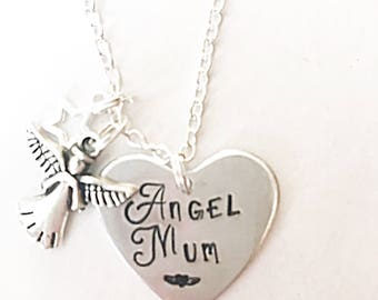 Bereavement Necklace, Hand Stamped Necklace, Loss Of Mum, Angel Necklace, Silver Necklace, Memorial Jewelry, Loss Of Mother Gift, Angel