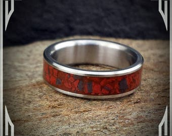 Titanium Ring with Iron Banded Jasper Stone Inlay.  Custom Jewelry. Wedding Band or Any Occasion.
