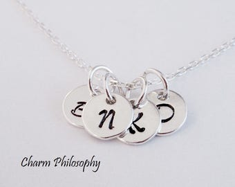 Monogram Letters Necklace - 8mm Round Initial Charms - Personalized 925 Sterling Silver Jewelry - Mother's Necklace - Children's Initials