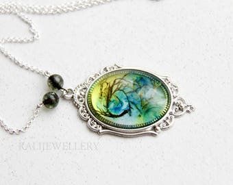 mothers day gift  Pressed flower jewelry Terrarium jewelry moss Resin pendant jewelry Pendant lichens Botanical necklace  Pendant plants