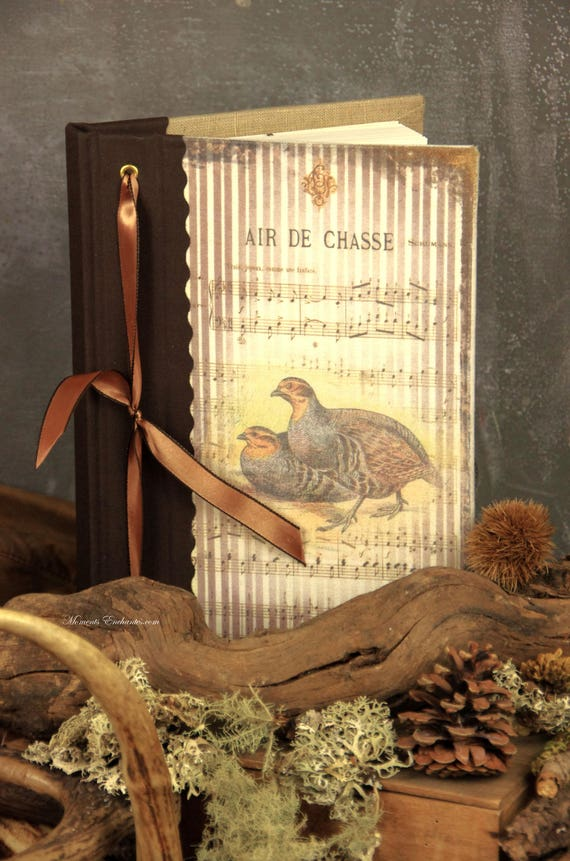 Hunting venery book very nice journal write in French  vintage pictures  partridge mothers' Day
