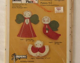 Three Holiday Angels That Patchwork Place, Inc pattern #N-5 by Nancy Southerland-Holmes, Quaint Country Style Ornaments or Decorations