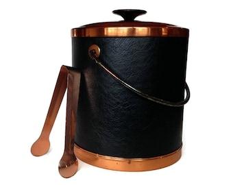 Coppercraft Ice Bucket, Copper, Black Leather, Mid Century Barware, Home Bar