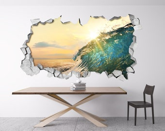 Broken Wall, Wall Decal, Wave, 3d Wallpaper, Art Prints, Decals, Stickers,  Wall Sticker, 3d Wall Decals, 3d Wall Art, 3d Art   SKU: BEACH3DW