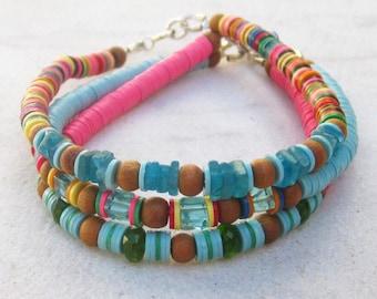 Boho bead bracelet, African vinyl beads stack bracelet, beaded gemstone bracelet, apatite chrome diopside sandalwood bracelet, tribal gypsy