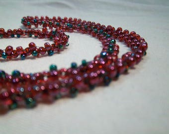 """Handmade woven seed bead necklace - 28"""" christmas colors"""