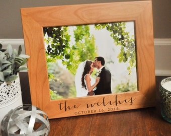 Personalized Picture Frame, Engraved Photo Frame, Custom Wedding Gift, 8 x 10, Wedding Present, Wood Picture Frame, Picture Frame