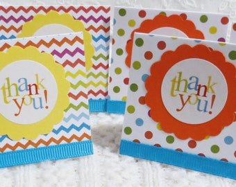 Bright Colors Mini Thank you Cards, Polka Dots and Stripes, Handmade Set of 24