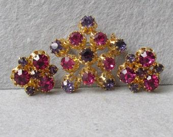 Signed Made In Austria Pink, Purple Rhinestone Pin & Earrings Set, Vintage Demi Parure