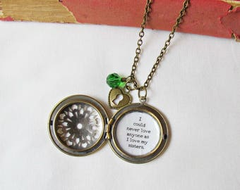 Little Women Locket Necklace - Quote Sisters Heart Padlock Charm Customised - Personalised Jewellery Jewelry For Women Bookworm Gift Bookish