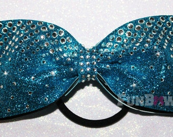 Gorgeous Glitter Tail-less  rhinestone Allstar cheer bow  by Funbows