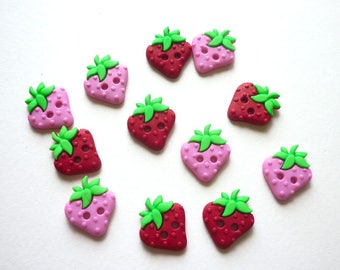 12 buttons fancy fruit strawberry pink and Red 15 x 13 mm