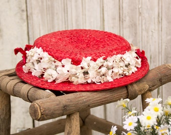 1930s Vintage Red Straw Hat- w/ Millinery - White Flowers Red Velvet Flowers - Summer Party Shabby Cottage Country Chic 1940s