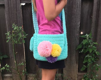 KIDS Pom-Pom Cross Body Purse//Kids Crocheted Purse