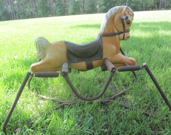 Vintage rocking horse, bouncing horse,hobby horse, spring horse,chair, riding toy, 1950-60s toy, painted horse,circus toy,bouncy toy