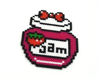 Jam Magnet - Strawberry Jam - Strawberry Keychain - Jam Keychain - Strawberry Magnet - Strawberry Jam Magnet - Perler Beads