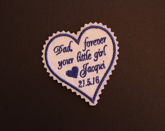 Dad forever your little girl - heart tie patch, tie label, suit label. Monogrammed heat Patches, father of the bride wedding Gift. F38