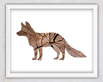 Printable Fox Art Print, Fox Digital Download Forest Animal Poster, Fox Print Wall Art, Instant Print, Woodland Wall Decor, Wild Animal Art