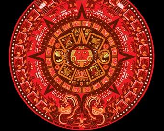 Aztec Calendar in New Red
