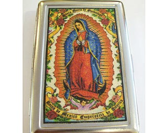 Virgin of Guadalupe metal wallet retro Mexico cigarette case business card holder kitsch