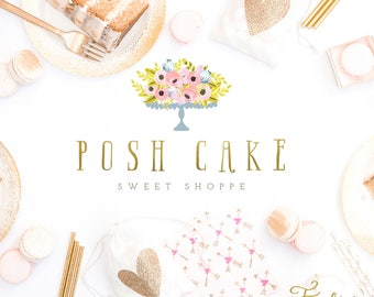 cake logo - watercolor logo - bakery logo - calligraphy logo - watercolor logo - sweets logo - freshmint paperie
