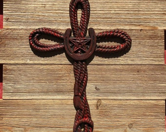 Rust red washed painted twisted rope star iron Cross - Wall Cross Decor - Western Iron Cross  - Rustic Cross - Star  Cross  - Metal Cross