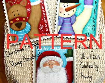 EPATTERN, 0057 Christmas Postage Stamp Ornaments, Christmas pattern, tole painting pattern, painting pattern, Santa pattern, snowman pattern