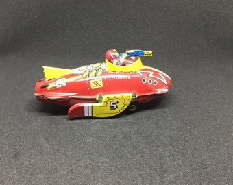 Rocket Fighter Tin Toy Ornament by Schylling -1998