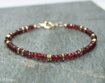 Garnet Bracelet, Garnet Jewelry, Brass, Beaded, Layering Bracelet, Gemstone Jewelry