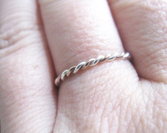 Sterling Silver and Rose Gold Twist Ring