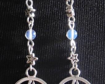 PENTAGRAM MOONSTONE EARRINGS, Pagan Earrings, Pentacle Pentagram Earrings, Gemstone Earrings, Long Drop Earrings, Silver Earrings
