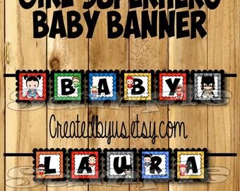 Superhero Baby Banner Girl Superhero baby shower banner Marvel decorations Super hero Baby name banner Super baby sign Its a Girl banner