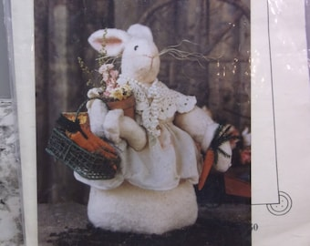 Pattern for EASTER BUNNY to be used for decoration.  Bonnie B. Buttons has an apron, doily shawl, potted flower, and basket of carrots