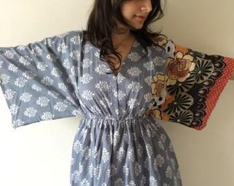 Buttoned Butterfly Sleeves Empire Waist Bordered Kaftan Dress Summer Dress Long Maxi loungewear beachwear Maternity Dress Bridesmaids Robes