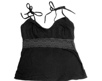 Lace Camisole Top Black Lingerie Sexy Pajamas Organic Sleepwear Women's Cami Top Spaghetti Straps