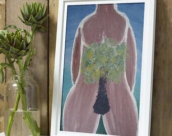 Sacred feminine painting, tree, contemporary art, postcard woman