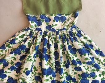 Vintage Original 1950s Little Girls Blue Rose Print Dress