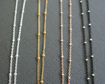 Layering necklace, Satellite chain, Dainty Beaded Satellite Chain, Short Sterling Silver or 14k Gold Fill Chain choker, chain necklace