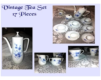 Bavarian Blue/White Tea Set Jahre Bareuther- 17 Peice- VERY Beautiful Set-  W/ Reduced Shipping