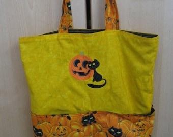 Black Cat and Pumpkin Eco Friendly Tote, Purse, Bag
