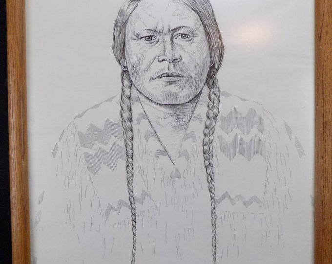 Original Ink Drawing of Native American Chief Ouray by Alan Fine 1983-Wall hangings home decor