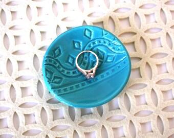 Turquoise Ring Dish - Jewelry Holder - Geometric Pattern - Vintage Stamped Motif - Handmade Ring Bowl - Engagement Gift - Bridal Shower Gift