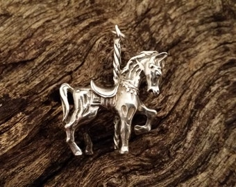 Vintage Sterling Silver Carousel Horse Pendant