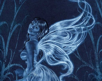 Figure drawing, blue fairy art print 8 x 10