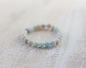 Matte Amazonite bracelet, natural matte amazonite stone bracelet / stone bracelet