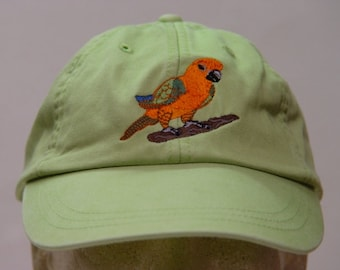 CONURE PARROT BIRD Hat - One Embroidered Wildlife Cap - Price Embroidery Apparel - 24 Color Caps Available