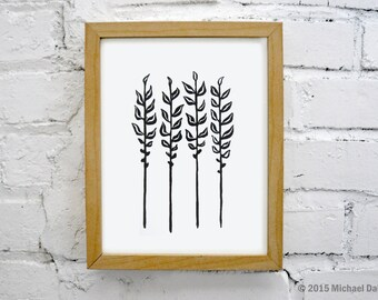 Ferns Linocut Block Print