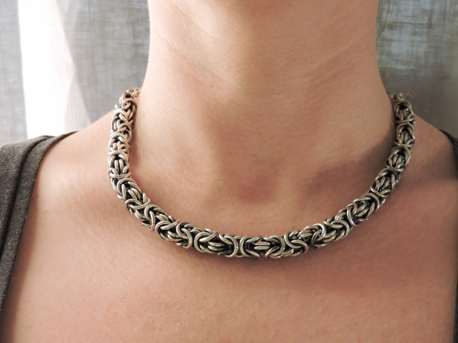 jewelry black the silver solid chains collections by co inch bow byzantine chain sterling necklace