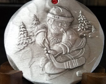 Snowman Playing Hockey Christmas Ornament