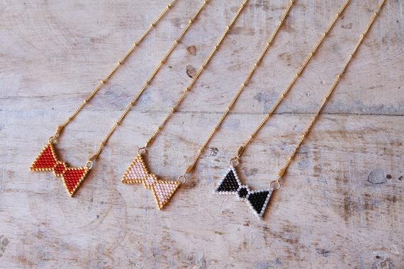 Crew neck bow, bow, mini necklace necklace black Miyuki beads, crew neck, gold plated chain
